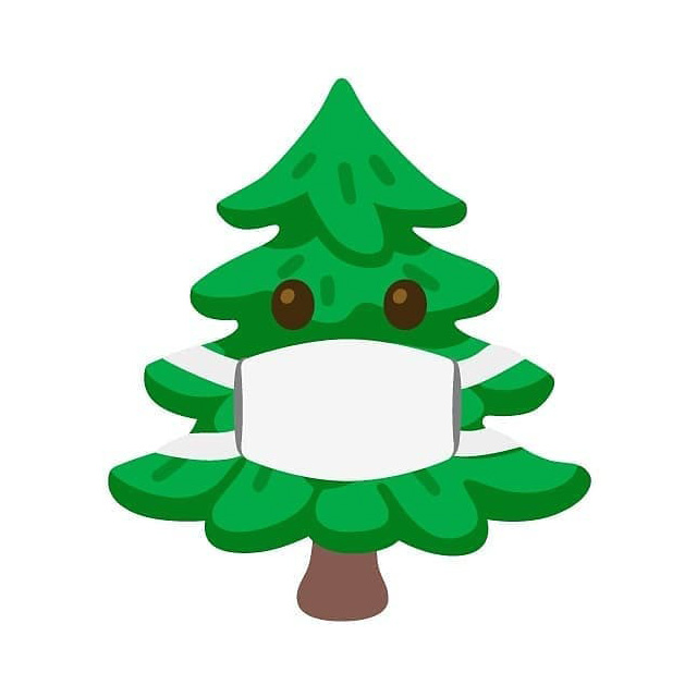 Christmas Tree With A Mask Emoji From Google